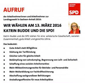 Wahlaufruf SPD Kartin Budde