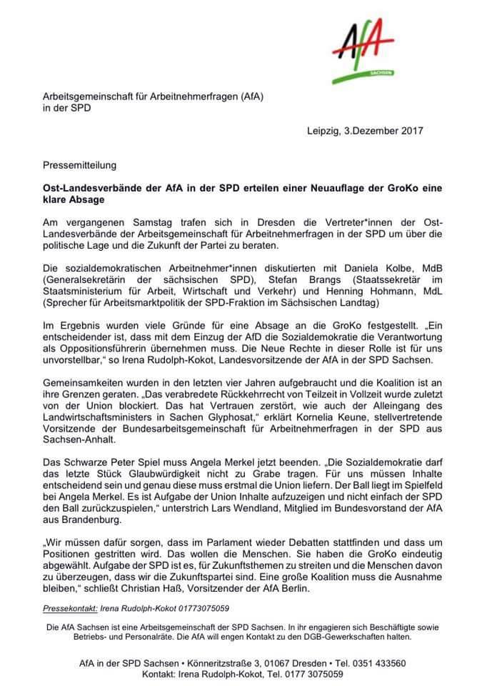 Ost-Landesverbände der AfA in der SPD erteilen eine Neuauflage der GroKo eine klare Absage